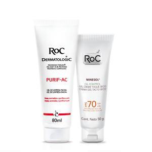 Kit Gel de Limpeza Facial ROC Purif-AC 80g + Protetor Solar ROC Minesol Oil Control 50g - R$80,30
