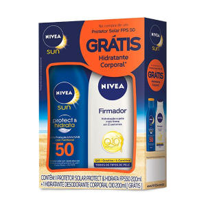 Kit Protetor Solar Nivea Sun FPS 50 (200 ml) + Loção Hidratante Nivea Firmador Q10 (200 ml) por R$19,90