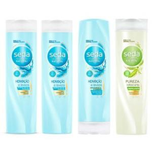 Kit Seda Hidratação e Leveza: 2 Shampoos 325ml + 1 Condicionador 325ml + 1 Shampoo Seda Pureza Detox 325ml