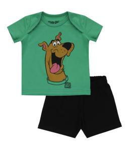 conjunto de camiseta verde + bermuda scooby doo preta - 9,99