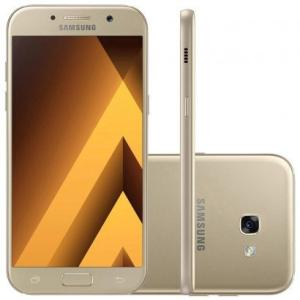 "Smartphone Samsung Galaxy A5 2017 Dual Chip, Dourado, Tela 5.2"", 4G+WiFi+NFC, Android 6.0, 16MP, 32GB - R$1.239.33"