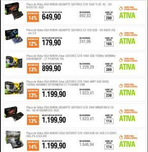 Promo. de Placas de Video Nvidia na Kabum varios modelos.