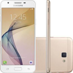 """Smartphone Samsung Galaxy J5 Prime Dual Chip Android 6.0 Tela 5"""" Quad-Core 1.4 GHz 32GB 4G Wi-Fi Câmera 13MP com Leitor de Digital - Dourado - R$ 712"""