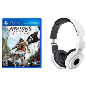 (PS4) Assassin's Creed IV: Black Flag + Headphone Dobravel - Branco - Mondial por R$ 80