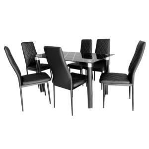 Conjunto de Mesa Devon com 6 Cadeiras Preto por R$ 680