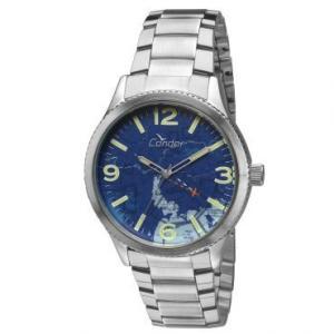 Relógio Masculino Analógico Condor, Prata, Pulseira de Aço, Caixa de 4,9cm, Resistente à Água 5 ATM R$70