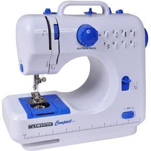 Máquina de Costura Portátil Incasa Compact Bivolt Branca e Azul