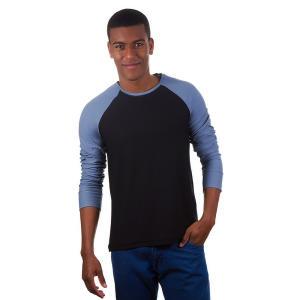 Camiseta Masculina Preta com Mangas Azuis (PP) - R$ 20