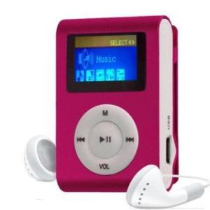 MP3 Player com Entrada SD e Fone de Ouvido Rosa - R$ 20