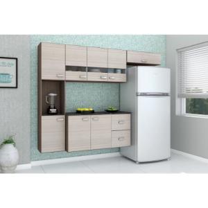 Cozinha Compacta Julia Composta Por 4 Peças Com 2 Gavetas 8 Portas Em Mdp Capucciono/Amendoa Poquema por R$ 269