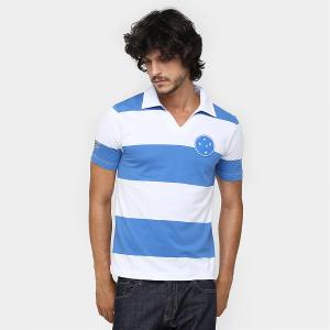 Camisa Polo Cruzeiro Réplica 1956 - Azul e Branco - R$30