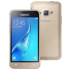 """Smartphone Samsung Galaxy J1 2016 Duos Dourado com Dual chip, Tela 4.5"""", 3G, Câm.de 5MP e 2MP, Android 5.1 - R$ 377"""