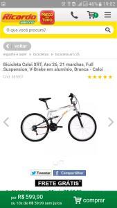 Bicicleta Caloi XRT, Aro 26, 21 marchas, Full Suspension, V-Brake em alumínio, Branca - Caloi