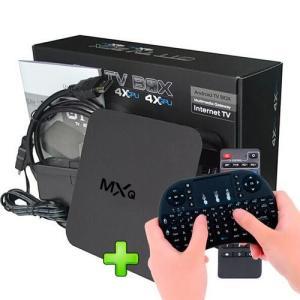 Kit Smart Tv Box Mxq Netflix Youtube + Mini Teclado Sem Fio Com Touchpad Mouse - R$145