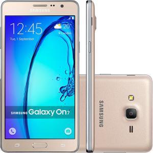 "Smartphone Samsung Galaxy On 7 Dual Chip Android 5.1 Tela 5.5"" 16GB 4G Câmera 13MP - Dourado - R$629"
