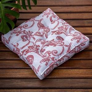 Futon Canvas Arabesco Vermelho 40x40cm - R$30