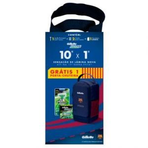 Aparelho Gillette Mach3 Sensitive + 2 Cargas + Porta Chuteira Exclusiva Barcelona - R$33,90