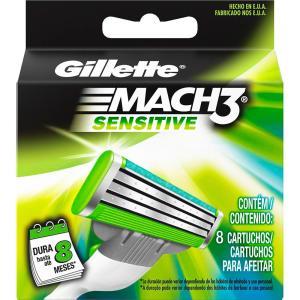 Carga para Aparelho de Barbear Gillette Mach3 Sensitive - 8 Unidades