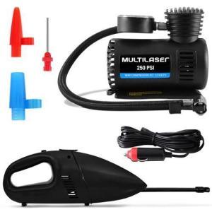 Kit Mini Compressor De Ar Portátil + Aspirador De Pó E Líquidos Multilaser 12v - R$69,90