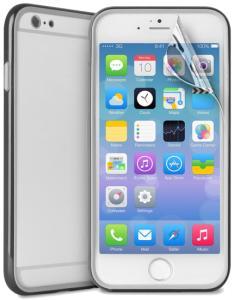 Bumper Flexível Para iPhone 6 Plus Com Película Protetora Preta - Puro - 0,09