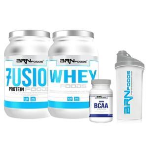 Kit Fusion Protein 900g + Whey Foods 900g + Premium BCAA 120 Caps + CoqueteleiraBRNfoods - R$89,90
