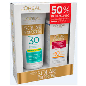 Kit Protetor Solar Expertise Supreme Protect 4 FPS 30 L'Oréal + Solar Expertise Antirrugas FPS 30 - R$27,31