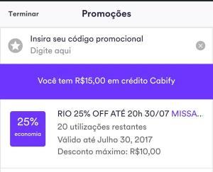 Cabify 25% off RJ