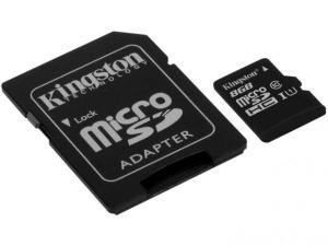 Cartão de Memória 8GB Micro SDHC com Adaptador - Kingston SDC10