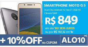 """[Cartão Submarino] Smartphone Moto G 5 Dual Chip Android 7.0 Tela 5"""" 32GB 4G Câmera 13MP por R$ 672"""