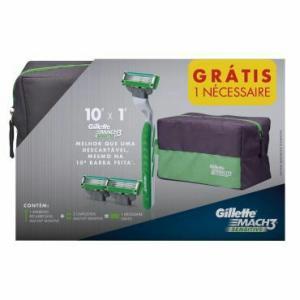 Aparelho de Barbear Gillette Mach3 Sensitive + 2 Cargas + GRÁTIS Necessaire por R$ 20