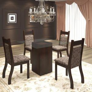 Conjunto De Mesa Para Sala De Jantar Ecco Com Vidro 4 Cadeiras Jady Nogueira/Mocaccino por R$ 342
