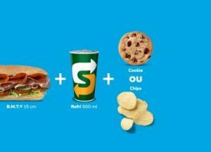 [SP] Sanduíche B.M.T.® 15cm + Refri 500ml + Cookie ou Chips - R$19