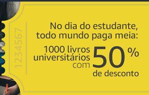 Dia do Estudante - 1000 livros universitários com 50% de desconto