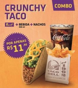 [SP] 1 Crunchy Taco Beef + 1 Refri 400ML + 1 Porção Nachos por R$ 11,90