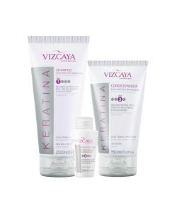 Kit Vizcaya Keratina Shampoo + Condicionador + Ampola - R$34