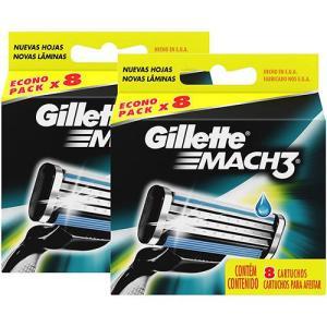 Kit 16 Cargas para Aparelho De Barbear Gillette Mach3 - R$41
