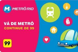 Promoção 99 táxis + Metrô Rio
