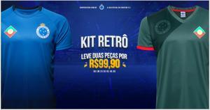 Kit Camisa Retrô Cruzeiro Palestra Itália + Camisa Retrô Cruzeiro s/nº Masculina - Verde e Azul - R$100