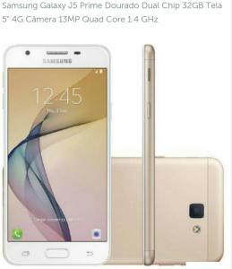 """Smartphone Samsung Galaxy J5 Prime Dourado Dual Chip 32GB Tela 5"""" 4G Câmera 13MP Quad Core 1.4 GHz - R$625"""