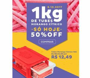 Bala Fini - Tubes Morango Cítrico 1KG - 180UN - R$12