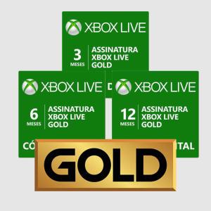 Assinatura Xbox Live Gold (Código digital) - 3 meses - R$49,00 / 6 meses - R$75,00 / 12 meses - R$119,00
