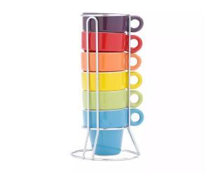 Jogo 6 Xícaras 60ml De Café De Porcelana Coloridas Com Suporte - R$ 28