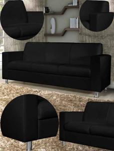 Sofá American Comfort Roma 3 Lugares Corino Preto - R$359