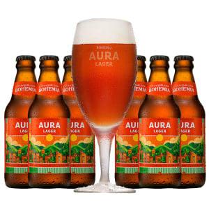 Comprando 6 Cervejas Bohemia Aura Lager 300ml GANHE a Taça Aura Lager 300ml - R$41