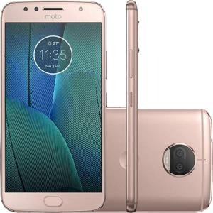 "Smartphone Motorola Moto G5s Plus XT1802 Dual Chip Ouro Rosê Tela 5.5"" 4G Android 7.1 13MP 32GB - Desbloqueado - R$1098"