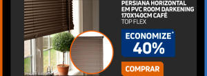 40% DE DESCONTO NA Persiana Horizontal em Pvc Room Darkening 170x140cm Café  R$ 79,99