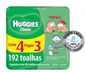 Toalhas Umedecidas Huggies Classic 192 Unidades - Leve 4 Pague 3 - R$ 20