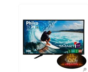"Smart TV Android LED 39"" Philco PH39N91DSGWA com Wi-Fi 2 USB 2 HDMI Ginga Surround ApToide Guide Sleep Timer e 60Hz R$ 1259"