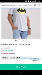 Camiseta batman por R$14 !!!