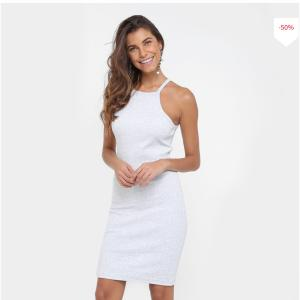 Vestido Tigs Tubinho Curto Ribana Alça - Mescla - R$34,90